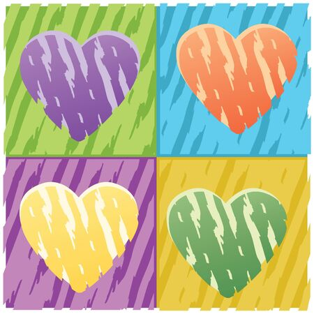 four hearts grunge for decor photo