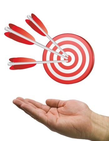 hand and arrow target Stock Photo