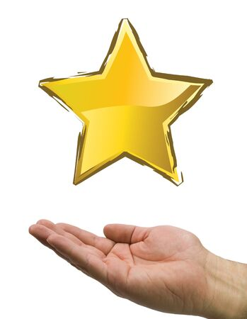 hand and star in white background Stock Photo - 4030285
