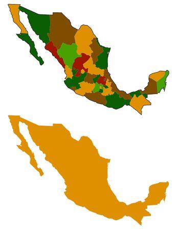 mexiko karte: Mexiko Karte Silhouette und alle Staaten