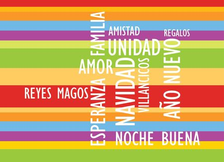 striped xmas card with words in spanish photo