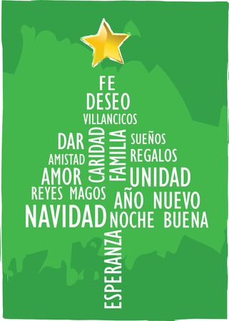 xmas card tree with words in spanish Stock Photo - 4030278
