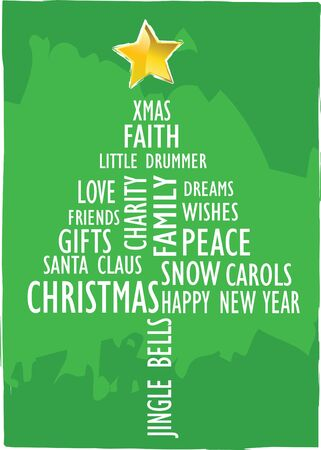 xmas card tree with words in english Stock Photo - 4030284