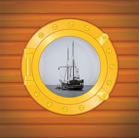 porthole pirate boat in caribbean sea Stock Photo - 4030323