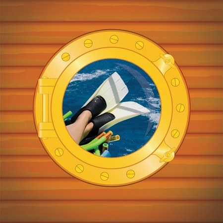 porthole scuba fin for woman Stock Photo - 4030326