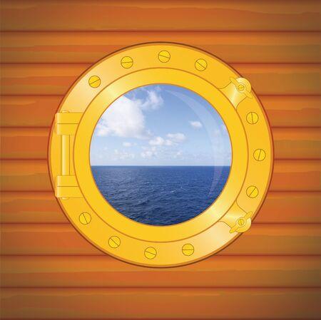 porthole sea and clouds, caribbean photo