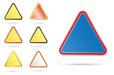 triangle road signs, different colors Stock Photo - 4030322