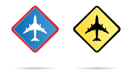 two airport road sign in blue and yellow Stock Photo - 4045494