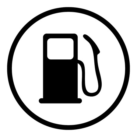 filling station: gas pump icon in circle line