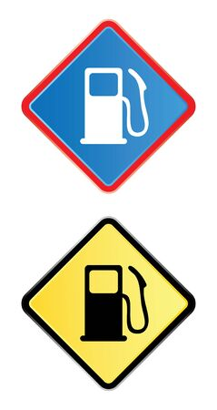 gas pump road sign in blue and yellow photo
