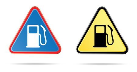 gas pump triangular road sign in colors photo