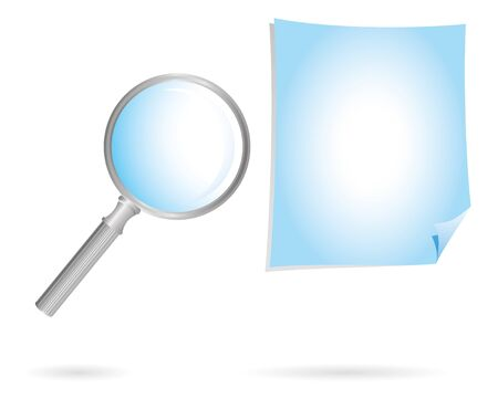 magnification glass and paper blue photo