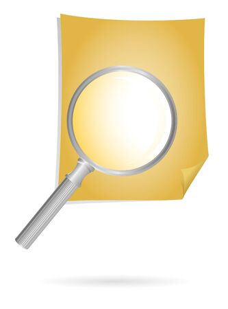 magnification: magnification glass and document on brown Stock Photo