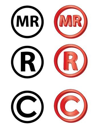 Marca Registrada in het Spaans, geregisteerde en auteursrecht pictogrammen Stockfoto