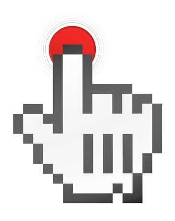 mouse hand push the red botton Stock Photo - 4045480