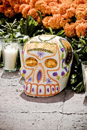 mexican folklore: skull in offering dia de muertos  Stock Photo