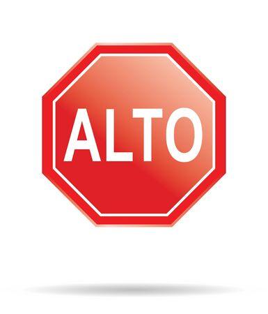 """señal de """"pare"""" en español """"alto"""" Foto de archivo - 4045477"""