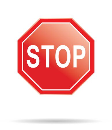 red stop sign in vector mode photo