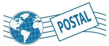 stipes: world postage stamp in blue