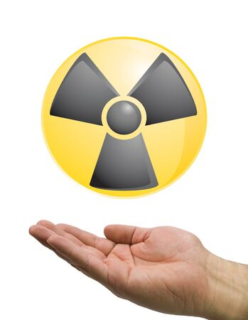 hand and radiation icon on isolated  photo