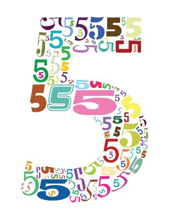 numbers abstract: number five with colors Stock Photo