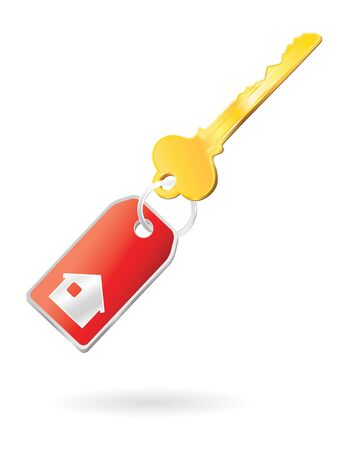 keychain and house icon on label Stock Photo - 4098634
