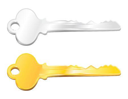 Chiave d'oro e d'argento in modalità vettoriale Archivio Fotografico - 4098631