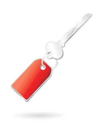 silver key with keychange in red Stock Photo - 4098627