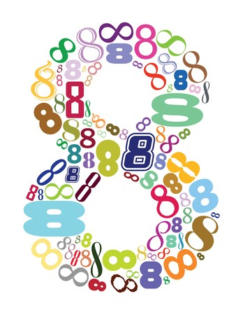 numbers abstract: eight number in color, vector mode Stock Photo
