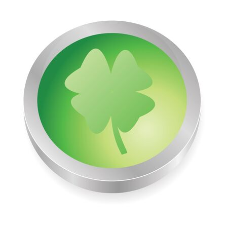 clover lucky button in green Stock Photo - 4128429