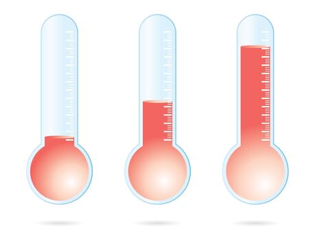 set of three red thermometers