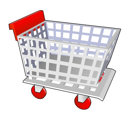 mart: shopping cart red in vector Stock Photo