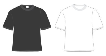 t-shirt black and white in vector photo