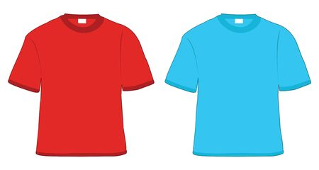 t-shirt red and blue in vector photo