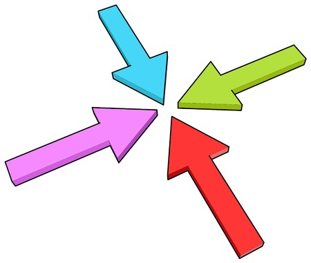 four arrows in one point, toon effect Stock Photo - 4236410
