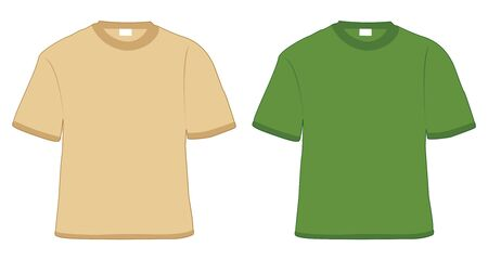t-shirt khaki and green in vector photo