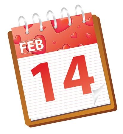 calendar february 14 valentines day Banco de Imagens - 4236414