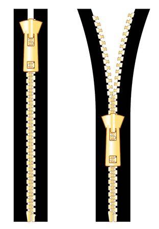 zip: gold zipper in vector mode