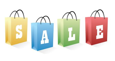 sale shopping bags in vector photo