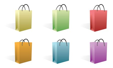 set of shopping bags in colors photo