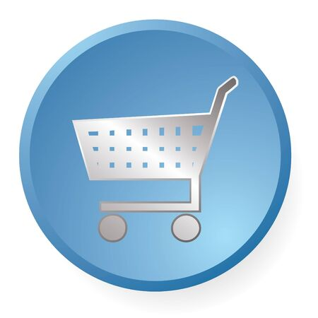shopping cart icon in blue photo
