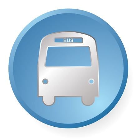 blue bus icon in vector photo