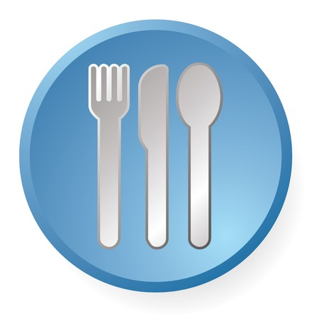 vector dinner icon set in blue color photo