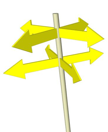 isolated yellow direction arrows in vector photo