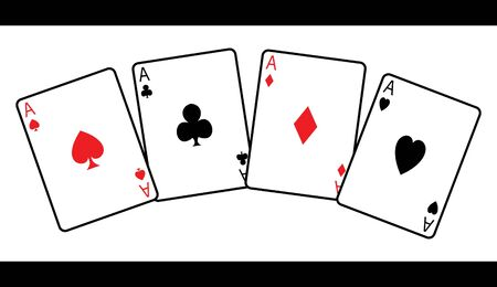 four playing cards in vector photo