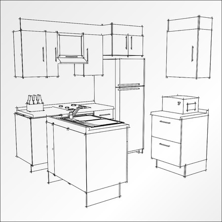 project: bw kitchen trace in vector mode Stock Photo