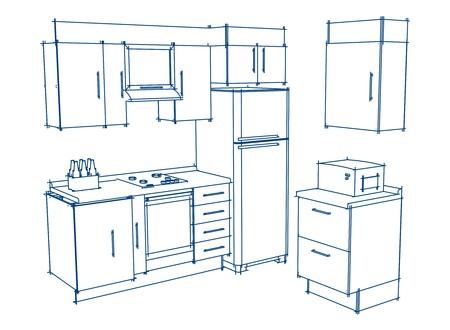kitchen trace in vector mode Archivio Fotografico