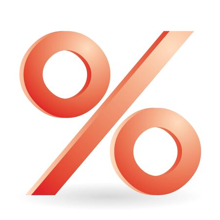 percent symbol in red color photo