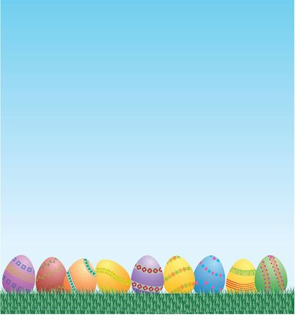 easter eggs grass and sky in vector photo