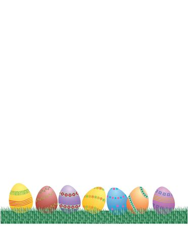 easter eggs grass in vector photo